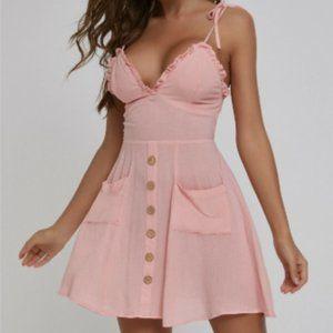 Pocket Patched Frill Trim Shirred Back Cami Dress